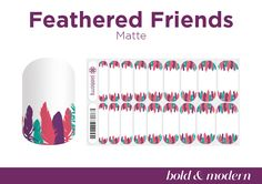 Go bold and unique with bright feathers adorning your cuticles! Our matte finish also ensures a standout look. #FeatheredFriendsJN #Jamberry #BerryGirlNails #BoldModern #Fall2016 #Matte