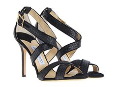 Jimmy Choo Womens Black Glitter High Heel Sandals Shoes  Size 375 EU ** Be sure to check out this awesome product.