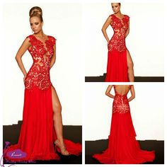 61041 Free shipping Customized Zuhair Murad Evening Dress V-Neck Sexy Slit Backless Red Carpet Dress Long Lace Evening Gown 2014