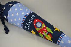 """Schultüten - Schultüte """"Weltraum""""II, mit Namen, Kissenbezug - ein Designerstück von Farbe_bekennen bei DaWanda"""