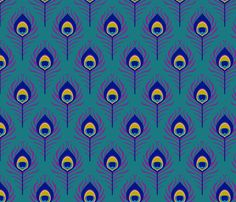 Peacock+Feather+Fabric | Peacock feather - teal fabric by coggon_(roz_robinson) on Spoonflower ...