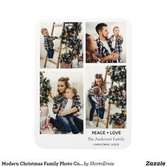 Flexible Photo Magnet Merry Christmas Family, Modern Christmas, Family Photo Collages, Family Photos, Holiday Postcards, Holiday Cards, Photo Magnets, Zazzle Invitations, Party Hats