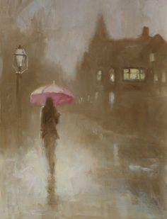 Anthony Tomaselli's Pink Umbrella Pink Umbrella, Rainy Days, Painting, Accessories, Art, Rain, Art Background, Pink Gingham, Painting Art