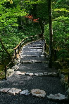 Path leading into a landscaped forest, Kinkakuji, Kyoto, Japan by Raphael Bick on Flickr.