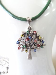 Evil Eye Tree Necklace   Evil Eye Multi Color by sevinchjewelry