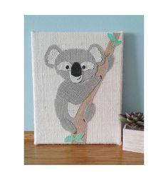 Burlap animals sign - 8X10 inch Koala sign, Koala wall decor, Rustic sign, Wall art, Jungle nursery decor, Koala sign, Koala nursery art by Instinct2create on Etsy