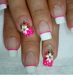 Nail figures 2018 for hands and feet Spring Nail Art, Spring Nails, Cute Nails, Pretty Nails, Nail Polish Art, French Tip Nails, Flower Nail Art, Beautiful Nail Designs, Fabulous Nails