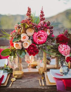 [style isn't right, but this shows a red peony with peach juliet garden roses - let me know if you like these together] bright peony tablescape