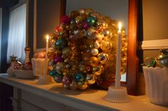 ljcfyi: Christmas Mantlescape: Milk Glass and Vintage Shiny Brite