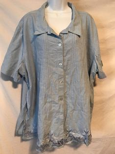14ee5a14680ac Fashion Bug Woman 4X 30 32W Blue Pleated Front Lace Cotton Button Down Shirt  Button