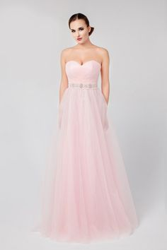 Dresses - Strapless Long Tulle Prom Dress - S / pink - My Best Dress - 1