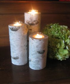 "8"",6"",4""  Beautiful Birch Bark VOTIVE CANDLE HOLDERS    Wedding Centerpieces, Bridal Showers, Garden Party on Etsy, $22.00"