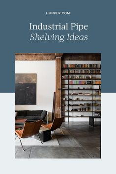 Take a look at these industrial pipe shelving ideas to see how to instantly increase the cool factor in your own home. #hunkerhome #industrialshelving #industrialbookshelf #bookshelfideas
