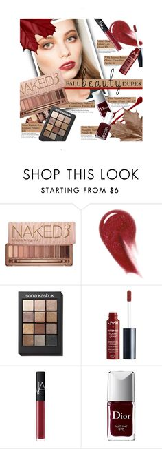 """""""Drugstore Beauty Dupes"""" by leslee-dawn ❤ liked on Polyvore featuring beauty, Urban Decay, NARS Cosmetics, Sonia Kashuk, Christian Dior and Essie"""