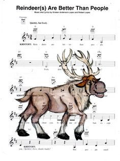 Repurposed Sheet Music Featuring Hand Painted Watercolor of Disney's Sven from Frozen *Buy 2 get 3rd FREE by SimpleeSaid on Etsy