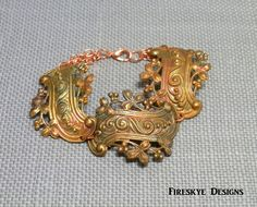 Fire torched brass bracelet, Victorian scroll, American made brass, rose copper chain by FireskyeDesigns on Etsy