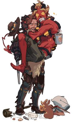 Credit to original artist Overwatch Comic, Overwatch Memes, Overwatch Fan Art, Character Concept, Character Art, Concept Art, Character Design, Junkrat Fanart, Junkrat And Roadhog