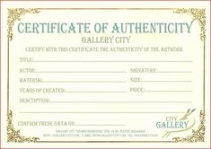 Certificate Authenticity Template Art Authenticity Certificate With Free Art Certificate Templates - Professional Templates Ideas Best Templates, Templates Printable Free, Resume Templates, Art Template, Certificate Of Appreciation, Certificate Of Achievement, Free Printable Certificates, Gift Certificates, Birth Certificate Template