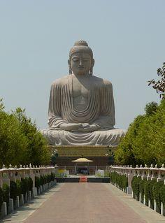 Great Buddha statue in Bodh Gaya, Bihar, India - the place where Gautama Buddha attainment enlightenment Lotus Buddha, Art Buddha, Buddha Statues, Buddhist Temple, Buddhist Art, Bodh Gaya, Amazing India, Gautama Buddha, Meditation
