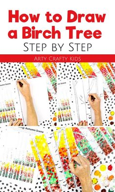Want to teach children how to draw a birch tree step by step? This step by step birch tree drawing for kids uses a simple flow drawing technique to teach kids how to draw a fall tree and then paint it. Get step by step instructions on how to draw a tree for kids here! Easy drawings for kids | Art Ideas for Kids | Fall Crafts for Kids Autumn | Fall Drawings Easy Tree | Fall Drawings Easy Kids | Easy Fall Art Projects for Kids