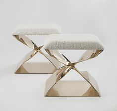 LUXURY FURNTIURE |  a set of 2 amzing stools ins brass with a contemporary twist on the base |www.bocadolobo.com/ #modernchairs #luxuryfurniture #chairsideas