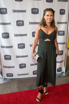 Splurge: Vanessa Williams's Ugly Betty Reunion Mason by Michelle Mason Black Cutout Jumpsuit and Gianvito Rossi Black Fringed Suede Sandals