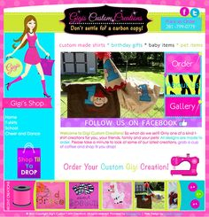 Gigi creates fun and eye-catching t-shirts and gifts so we made a sewing website design to match her sparkling style! This was such a fun design to work on, we also added and modified the girl character from our 'Shop Til' template. http://gigiscustomcreations.com/