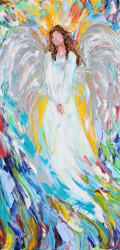 Original #Angel of Joy palette knife painting by Karensfineart