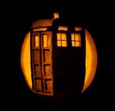 DONE TARDIS pumpkin--8 Easy and Geeky Pumpkin Carving Ideas