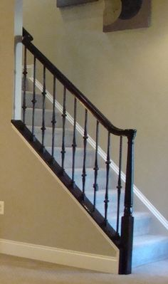 COLOR: glossy black staircase handrail (not style)