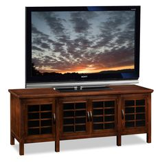 Leick Riley Holliday 60 in. TV Console with Grid Black Glass Doors - Chocolate Cherry