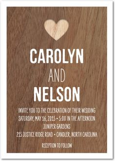 Perfect for a rustic wedding or an outdoor venue, this wedding invitation features a natural woodgrain background and sweet simple text. Customize the template for a personal wedding invitation that suits your style. Find more invitations and save the dates on WeddingPaperDivas.com