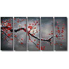 'Winter Plum' 5-piece Oil Canvas Art Set