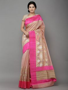 Brown Pink Hand Woven Banarasi Cotton Silk Saree