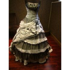 Spectacular Black and White Wedding Dress Vintage Goth ($1,200) ❤ liked on Polyvore featuring dresses, wedding dresses, long dresses and gowns