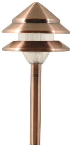 Moonrays 95871 Marion-Style Low Voltage Metal 3-Tier Path Light with Copper Finish - The Moonrays 95871 Marion-Style Low Voltage 7-Watt 12-Volt 2-Tier Metal Path Light adds a decorative touch to your pathway, patio or garden and provides a variety of lighting options for landscape design. Made of stamped aluminum, this light has an antique copper finish and ribbed plastic lens to...
