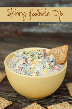 Skinny Poolside Dip #recipe by bunsinmyoven.com   This dip is perfect for a hot summer day! The crunchy veggies and creamy cheese are cool and refreshing!