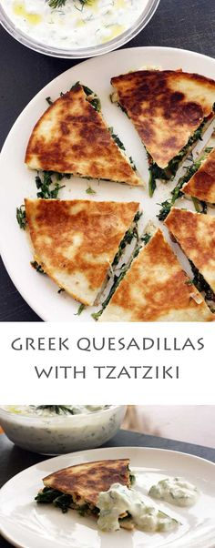 Ever tried Greek-Mex? If youve ever tried Greek spanakopita. Ever tried Greek-Mex? If youve ever tried Greek spanakopita or spinach and feta cheese pies youll love these Greek quesadillas with tzatziki! Think Food, I Love Food, Good Food, Yummy Food, Big Food, Vegetarian Recipes, Cooking Recipes, Healthy Recipes, Healthy Quesadilla Recipes