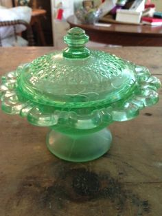 Frosted Depression Glass Candy Dish. $50.00, via Etsy.
