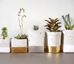 diy iiiinspired+//gold dipped pot plants