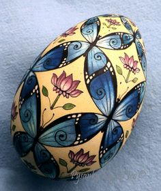 WIP Prevarnish - Butterlies Turkey Egg Pysanka Pysanky Ukrainian Easter Egg Batik Art by So Jeo