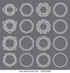 Set of round frames. Sixteen decorative elements for logo design with stripes braiding borders. White lines with black strokes on gray background.