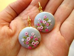 Items similar to Made to order Sakura Oriental Earrings Japanese Cherry Blossom Bright Light Delicate Soft Embossed Tiny Floral Classy Elegant on Etsy Polymer Clay Projects, Handmade Polymer Clay, Polymer Clay Embroidery, Biscuit, Jewelry Show, Jewellery, Clay Miniatures, Clay Charms, Clay Creations