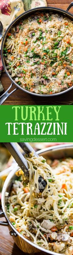 Turkey Tetrazzini Recipe - put your leftover turkey to work in this creamy, hearty casserole loaded with peas, carrots, Parmesan cheese and plenty of mushrooms. www.savingdessert.com #savingroomfordessert #turkey #tetrazzini #turkeycasserole #leftoverturkey #thanksgiving #turkeytetrazzini