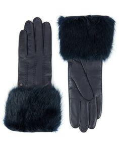 Faux fur trimmed gloves - Navy | Scarves & Gloves | Ted Baker