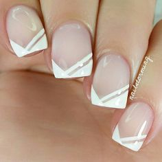 """Repost of my edgy french nails from a few months back- Tutorial was already posted! - - Products used: Base: """"Sugar Daddy"""" Essie White: """"Birthday Suit"""" @polishmylife Top coat: HK girl @glistenandglow1"""