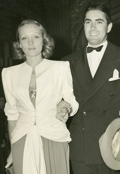 Marlene Dietrich and Tyrone Power, 1939  Two beauties arm in arm.