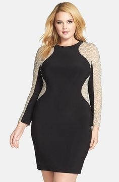 Plus Size Beaded Illusion Sleeve Jersey Body-Con Dress - Plus Size Party Dress