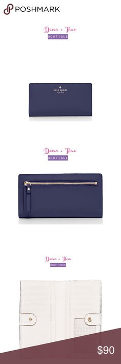 """🌟NWT Kate Spade Mikas Pond Stacy🌟 🌟BRAND NEW🌟  Color: Indigo  MATERIAL * crosshatched leather with smooth leather trim * capital kate jacquard lining * 14-karat light gold plated hardware  FEATURES * medium wallet with snap closure * 14 credit card slots, one id slot and two bifolds * exterior zipper pocket * gold foil emobossed kate spade new york signature with spade stud  DETAILS * 3.5''h x 6.6''w x 0.5''d  💟Submit your offer thru the """"Offer"""" button 💟NO Price discussion in the…"""