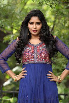 Check Out Super Glam Stills of Telugu Heroine Madhumithakrishna in Blue Dress | Telugu Actress Gallery